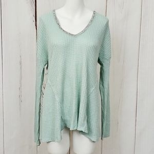 Juicy Couture Top Shirt Sweater Large Silver Green